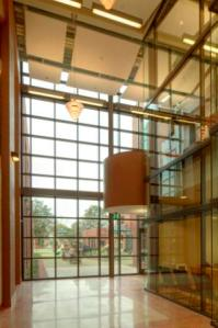 Interior view from the Lobby through windows to the Playground